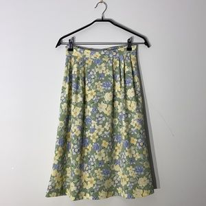 Vintage Pastel Green Floral Midi Skirt
